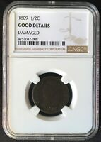 1809 CLASSIC HEAD 1/2 CENT  HALF CENT  NGC GOOD DETAILS DAMA