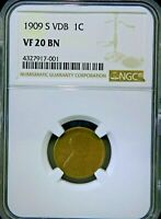1909-S VDB LINCOLN WHEAT CENT - NGC VF 20 BN