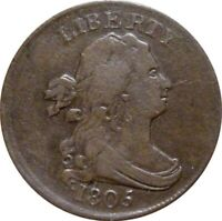 1805 DRAPED BUST HALF CENT  SMALL 5 STEMLESS  FINE