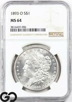 1893-O MORGAN SILVER DOLLAR SILVER COIN NGC MINT STATE 64  BLAST WHITE KEY DATE