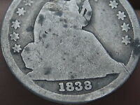 1838 SEATED LIBERTY DIME- LARGE STARS