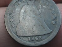 1842 SEATED LIBERTY SILVER DIME- GOOD DETAILS