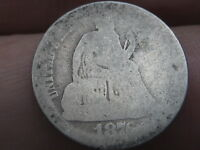 1876 CC SEATED LIBERTY SILVER DIME-  CARSON CITY, LOWBALL, HEAVILY WORN