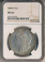 1890-S MORGAN SILVER DOLLAR NGC CERTIFIED MINT STATE 61 SHIPS FREE