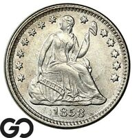 1858 SEATED LIBERTY HALF DIME LUSTROUS CHOICE BU   COLLECTOR TYPE
