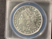 1890-S MORGAN SILVER DOLLAR AU 50 DETAILS POLISHED