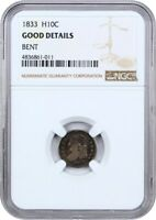 1833 H10C NGC GOOD DETAILS BENT - EARLY HALF DIMES