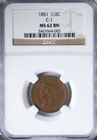 1851 BRAIDED HAIR HALF CENT NGC MINT STATE 62BN C-1