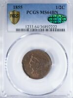 1855 BRAIDED HAIR HALF CENT PCGS MINT STATE 64BN CAC, GOLD SHIELD, RED STILL PRESENT REV