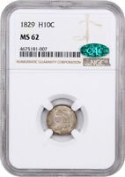 1829 H10C NGC/CAC MINT STATE 62 - EARLY HALF DIMES