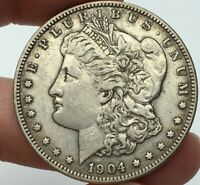 1904-S MORGAN SILVER DOLLAR LOOKS HIGH END EXTRA FINE