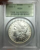 1899-O PCGS MINT STATE 64 MORGAN SILVER DOLLAR SUPERB LUSTER OLD GREEN HOLDER