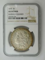 1892 MORGAN SILVER DOLLAR NGC GRADED AU DETAILS HARSHLY CLEANED 569
