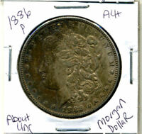 1886 P AU MORGAN DOLLAR 100 CENT  ABOUT UNCIRCULATED 90 SILVER US $1 COIN 3884
