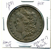 1881 P AU MORGAN DOLLAR 100 CENT  ABOUT UNCIRCULATED 90 SILVER US $1 COIN 4347