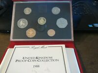 UK BRITISH 1988 PROOF 7 COIN SET COLLECTION:  ROYAL MINT