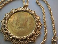 NEVADA 1864-1976  200TH ANNIVERSARY MEDALLION W/ BEZEL & NECKLACE GOLD TONE LONG