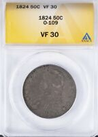 1824 CAPPED BUST HALF ANACS VF30 O-109, SOLID VF 30 EXAMPLE