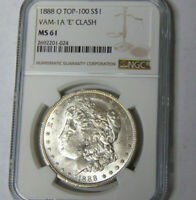 NGC MINT STATE 61 1888-O MORGAN SILVER DOLLAR NEW ORLEANS MINT TOP-100 VAM-1A 'E' CLASH