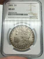 1891-P NGC MINT STATE 63 MORGAN SILVER DOLLAR GREAT LOOKING LUSTER TOUGH DATE