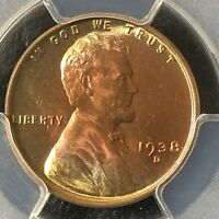 1938-D 1C RB LINCOLN WHEAT ONE CENT  PCGS MINT STATE 65RB             36067196