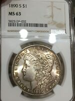 1890-S NGC MINT STATE 63 MORGAN SILVER DOLLAR GREAT DETAIL BETTER DATE COIN