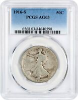 1916-S 50C PCGS AG-03 -  DATE - WALKING LIBERTY HALF DOLLAR -  DATE