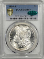 1890-S MORGAN DOLLAR PCGS MINT STATE 66 PREMIUM QUALITY CAC APPROVED