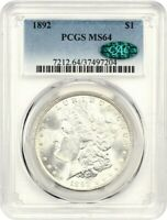 1892 $1 PCGS/CAC MINT STATE 64 - BLAZING WHITE - MORGAN SILVER DOLLAR - BLAZING WHITE