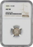 1835 H10C NGC AU58 LARGE DATE, LARGE 5C EARLY HALF DIMES