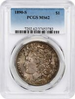 1890-S $1 PCGS MINT STATE 62 - MORGAN SILVER DOLLAR