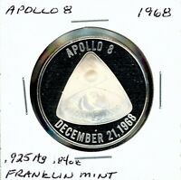 SPACE MEDAL   APOLLO 8 .925 SILVER PROOF FRANKLIN MINT