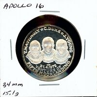 SPACE MEDAL   APOLLO 16 .999 SILVER PROOF HOFFMAN & HOFFMAN MINT
