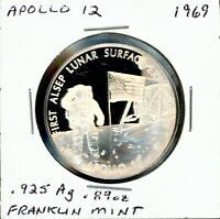 SPACE MEDAL   APOLLO 12 .925 SILVER PROOF FRANKLIN MINT