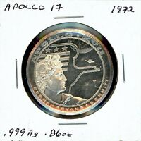 SPACE MEDAL   APOLLO 17 .999 SILVER PROOF LOMBARDO MINT