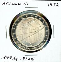 SPACE MEDAL   APOLLO 16 .999 SILVER PROOF LOMBARDO MINT