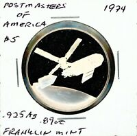 SPACE MEDAL   POSTMASTERS OF AMERICA 5 .925 SILVER PROOF FRANKLIN MINT