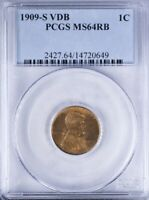 1909 S VDB LINCOLN CENT PCGS MINT STATE 64RB ATTRACTIVE RED AND BROWN SURFACES