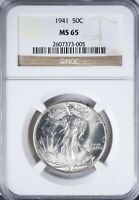 1941 WALKING LIBERTY HALF NGC MINT STATE 65 BOLDLY STRUCK HIGH END MINT STATE 65 COIN