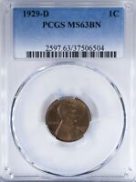1929 D LINCOLN CENT PCGS MINT STATE 63BN GLOSSY, LUSTROUS SURFACES