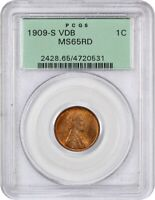 1909-S VDB 1C PCGS MINT STATE 65 RD OGH BEAUTIFUL GEM KEY DATE, OLD GREEN LABEL HOLDER