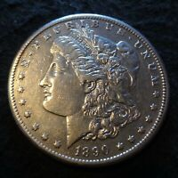 1890-CC MORGAN SILVER DOLLAR - CHOICE EXTRA FINE  DETAILS FROM THE CARSON CITY MINT
