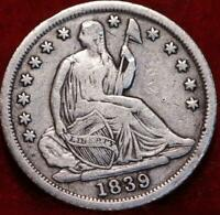 1839 O NEW ORLEANS MINT SILVER SEATED HALF DIME