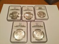 5 DIFF.MINT STATE 64 MORGAN SILVER DOLLARS 1882S1885P 1885O 1887P 1880S