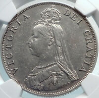 1889  GREAT BRITAIN UK QUEEN VICTORIA SILVER DOUBLE FLORIN COIN NGC I81897