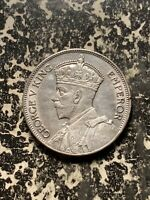 1936 FIJI 1 FLORIN LOTQ937 SILVER  NICE DETAIL  OLD CLEANING