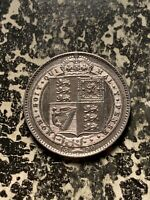 1890 GREAT BRITAIN 1 SHILLING LOTQ958 SILVER  NICE DETAIL  CLEANED