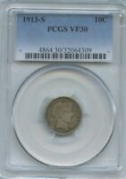 US COINS 1913 S PCGS VF 30 ORIGINAL BARBER DIME  SELLING ENT