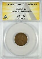 1909 S 1C LINCOLN CENT PENNY COIN ANACS VG10 DETAILS   BETTE