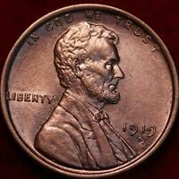 UNCIRCULATED RED 1919 D DENVER MINT COPPER LINCOLN WHEAT CEN